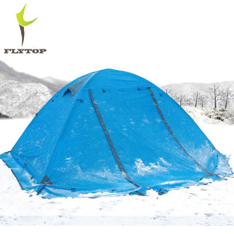 FLYTOP Beach Tourist 2 Person Waterproof Tent Winter 210T Polyester Aluminum Double Layer Outdoor Hiking Camping Tents 4 Season