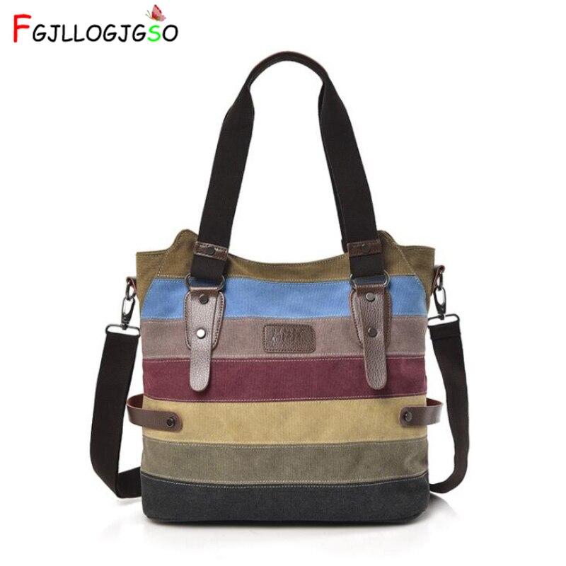 FGJLLOGJGSO New Fashion Rainbow Women Shoulder Bags High Quality Canvas Casual F
