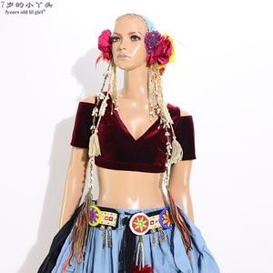 Image 1 - Danse du ventre velours grosse Chance Tribal Choli danse du ventre Costume manches courtes Top CJJ02