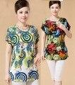 2016 Nuevo verano camisetas y tops mujeres blusa de impresión de la vendimia feminina señora camisetas de la túnica femme ropa mujer floral kimono L ~ 3 XXXL