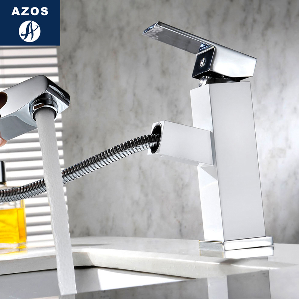 Modern Bathroom Faucet Pull Out Single Handle Swivel Spout Vessel Sink Mixer Tap Brushed Nickel Chrome Polish 2 Color CLMP001 new pull out sprayer kitchen faucet swivel spout vessel sink mixer tap single handle hole hot and cold