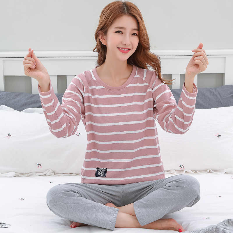 1bcb2a7937 Pajamas For Women Round Neck Sleepwear Cotton Pijama Mujer Striped Pyjamas  Femme Autumn Pajamas Sets Sleep