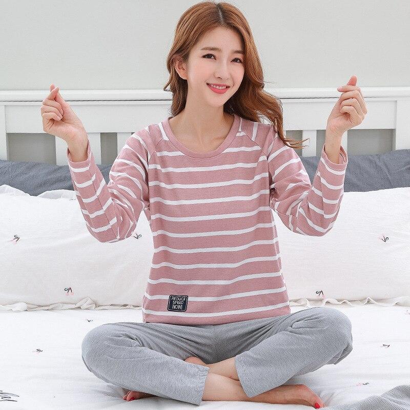 Pajamas   For Women Round Neck Sleepwear Cotton Pijama Mujer Striped Pyjamas Femme Autumn   Pajamas     Sets   Sleep Lounge Big Yard M-3XL
