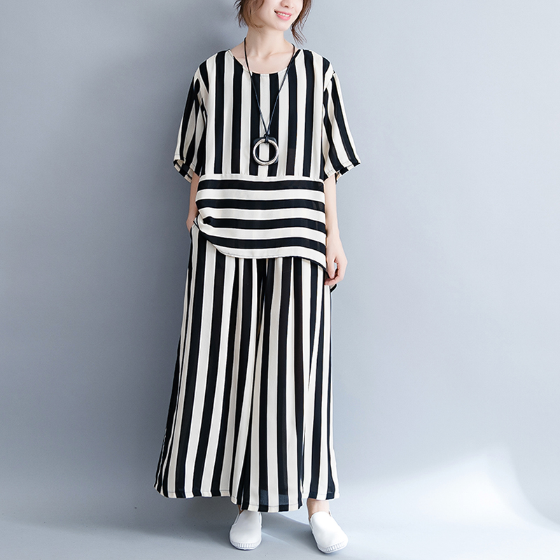 Tracksuit striped 2 piece set for women pantsuit outfit plus size large top and pants suits co-ord set loose casual clothing ...