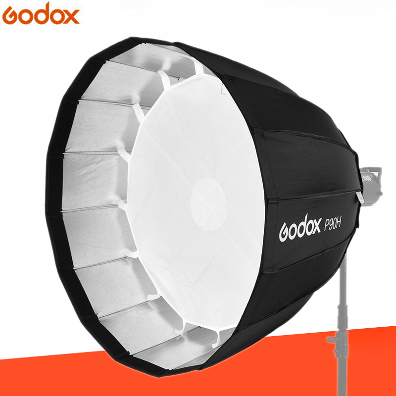 Godox P90H 90CM Deep Parabolic Bowens Mount Portable Softbox for Studio Flash Photo Studio godox p90l 90cm portable deep parabolic softbox bowens mount studio flash speedlite reflector photo studio softbox