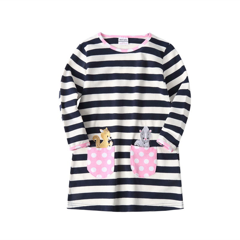 novatx HH702 new dress designs cartoon character embroidered striped autumn girls dress kidsgirls wear casual dresses hot top daisy embroidered striped night dress