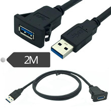 Square Single Port USB 3.0 2.0 Panel Flush Mount Extension Cable With Buckle