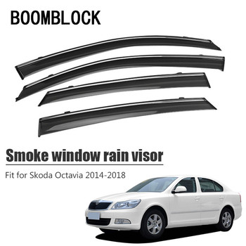 High Quality 4pcs Smoke Window Rain Visor For Skoda Octavia 2018 2017 2016 2015 2014 ABS Vent Sun Deflectors Guard Accessories