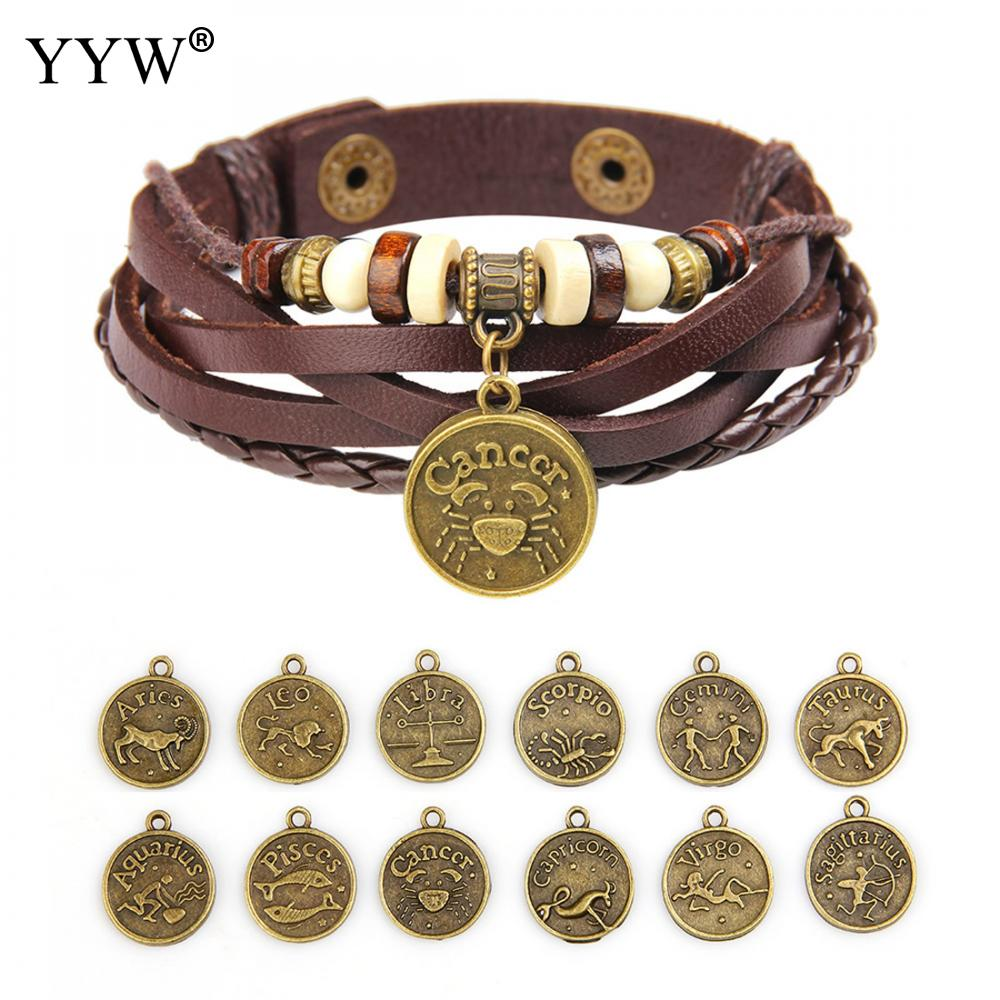 12 Constellations Bracelet 2018 New Fashion Jewelry Leather Bracelet Men Women Punk Style Braided Leather Bracelets & Bangles