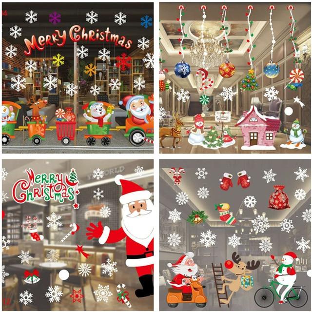 Рождественское украшение оконное стекло наклейка s Merry Рождество Санта-Клаус снег ПВХ Съемная Наклейка на стену на Рождество домашние наклейки