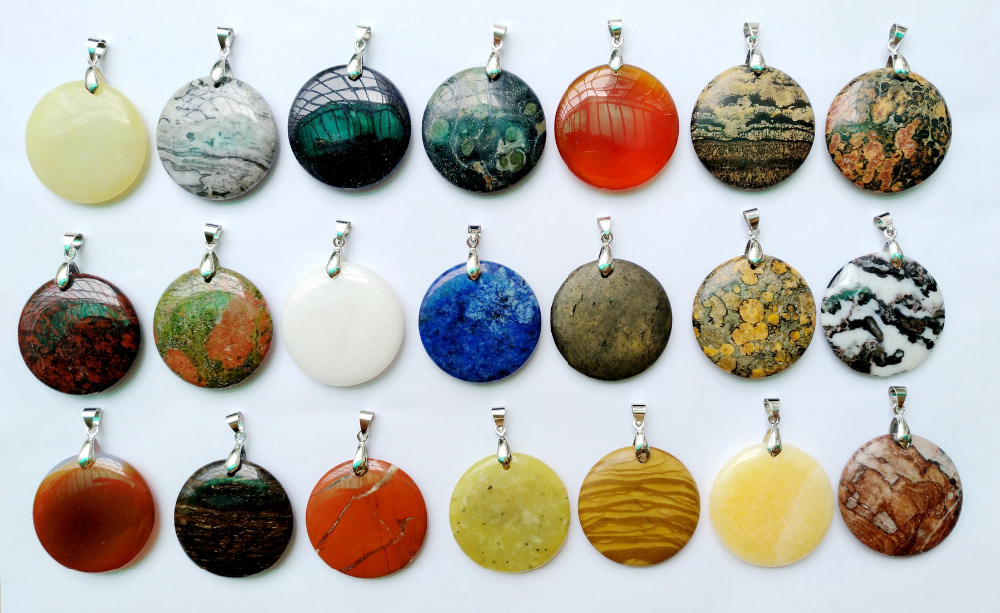 Wholeale Price Natural Gem Stone Jaspe r Jate Stone Pendant 35mm Puffy Round Healing Stone Crystal Pendant.1pcs Pick Color