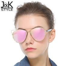 Pink Mirror New Cat's eye Shape Frame Alloy Polarized Sunglasses Points Sun Glasses Fashion Design Women Gafas De Sol Femininos