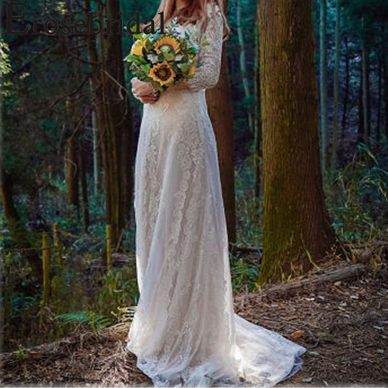Erosebridal New Arrival 2019 Boho Half Sleeve Wedding Dress V-neck Wedding Gown Lace Bride Dress Plus Size