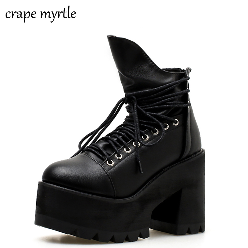 lace up autumn boots women Fashion Thick Heel Ankle Boots Women High Heels Winter Woman Shoes punk boots platform shoes YMA435 цена