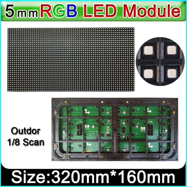 P5 Outdoor Full Color Led Display Module, Smd Rgb 3 In 1 P5 Led Panel, 1/8 Scan 320 Mm X 160 Mm Outdoor Video Wall Led Module
