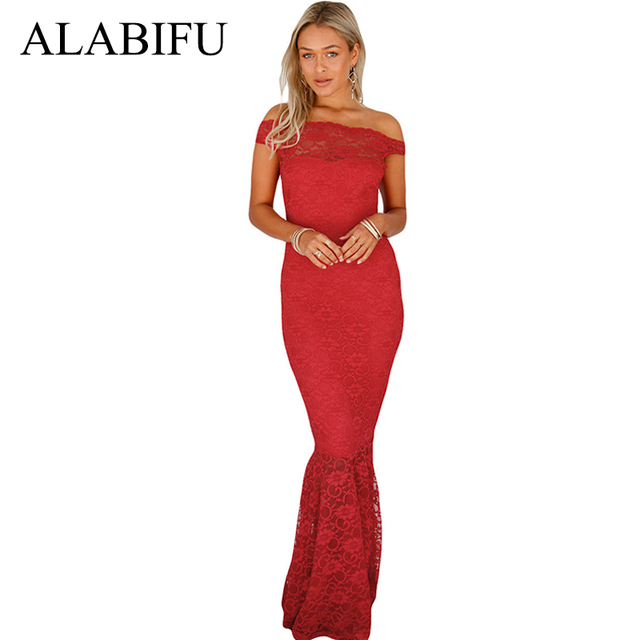 ALABIFU Sexy Off Shoulder Summer Dress Women 2019 Vintage Bodycon Mermaid Lace Dress Long Party Dress Maxi Vestidos ukraine