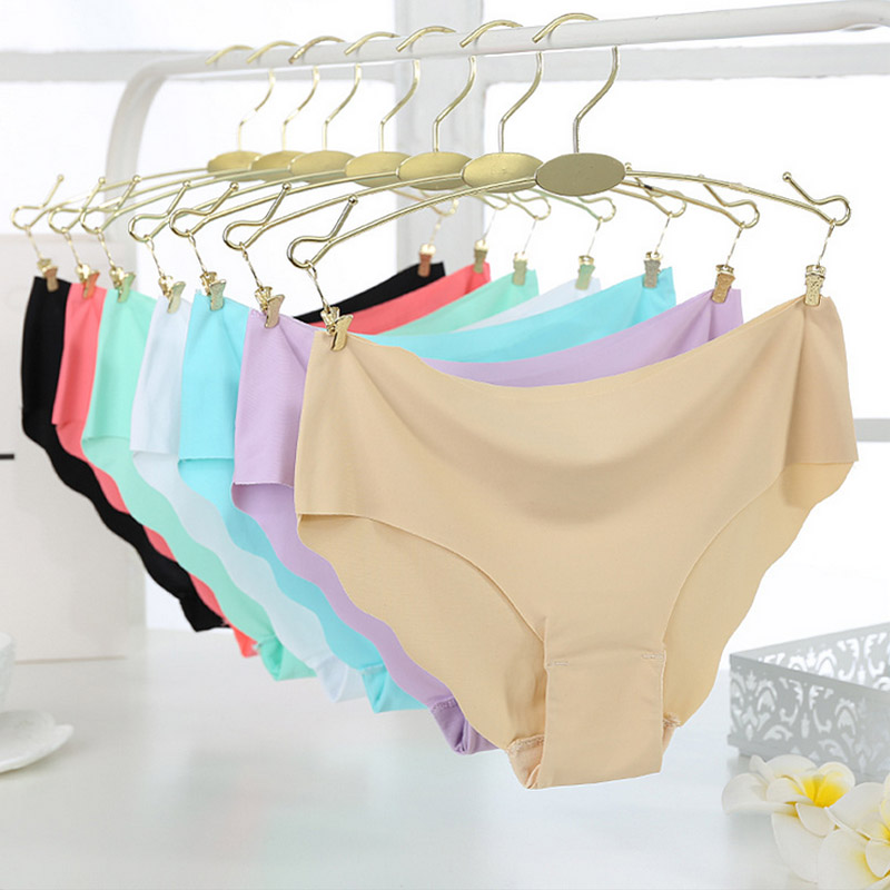 New Lady Women Soft Seamless Ultra-thin Briefs Multicolor Comfortable Mid-waisted Underw ...