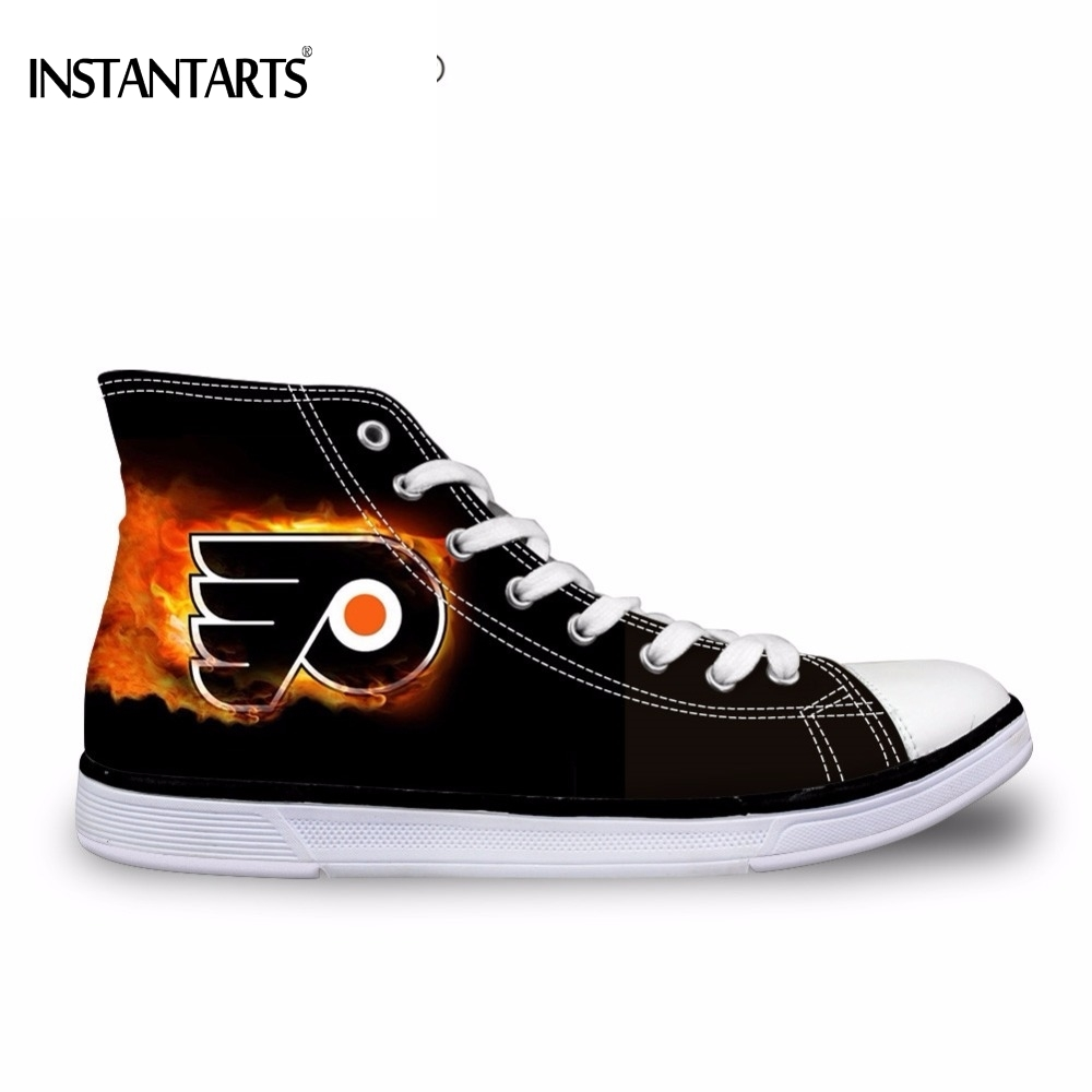 INSTANTARTS Classic Fire Philadelphia Flyers Mens Vulcanized Shoes Black High Top Canvas Shoes for Male Lace up Flats Sneakers