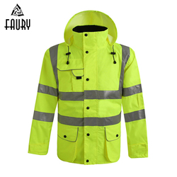 Высокая видимость Защитная куртка со светоотражающими полосками дорожного движения водонепроницаемый ветрозащитный плащ работник ремонт...