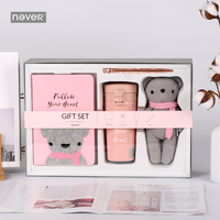Never Little Bear Valentine's Day Stationery Set A5 Notebook Water Cup Metal Pen Lover Gift Packing Office And School Stationery