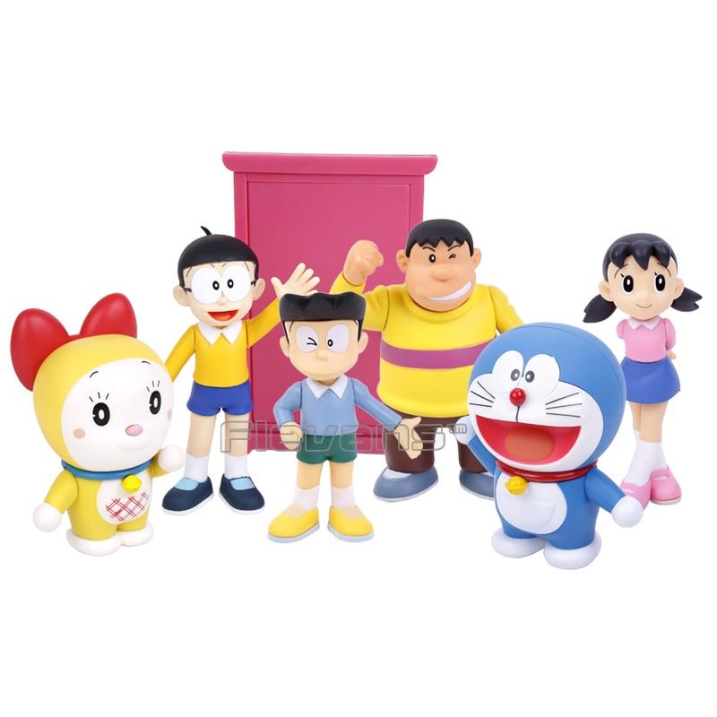 Doraemon Family Nobi Nobita Doraemon Minamoto Shizuka Honekawa Suneo Big G Dorami PVC Action Figure 6pcs