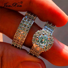 JUNXIN OL Female Crystal Bridal Engagement Ring Set 925 Silver Color Round White Zircon Stone Promise Wedding Ring For Women(China)
