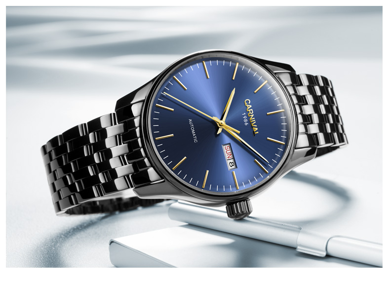 Carnaval Homens Automáticos Assistir Ultra Fino Breve Data Dia 25 jóias de Luxo Relógio Mecânico Presente - 6