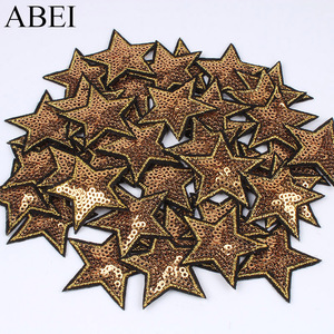 10pcs/lot Sequined Star Patch Glitter Stars Stickers DIY Fabric Appliques Embroidered Iron On Coats Jeans Pants Badge Accessory(China)