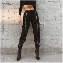 Casual Front Long Zipper High Waist Cargo Pants Women Punk Hip Hop Black Fashion Harem Ankle Trousers 2019 New Streetwear