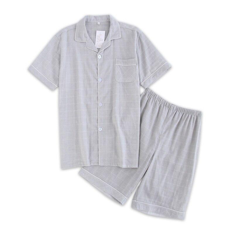 Fashion Couples Plaid Short Pajamas Sets Men Summer Short-sleeve 100% Cotton Casual Mens Pyjama Homme Male Homewear Sleepwear