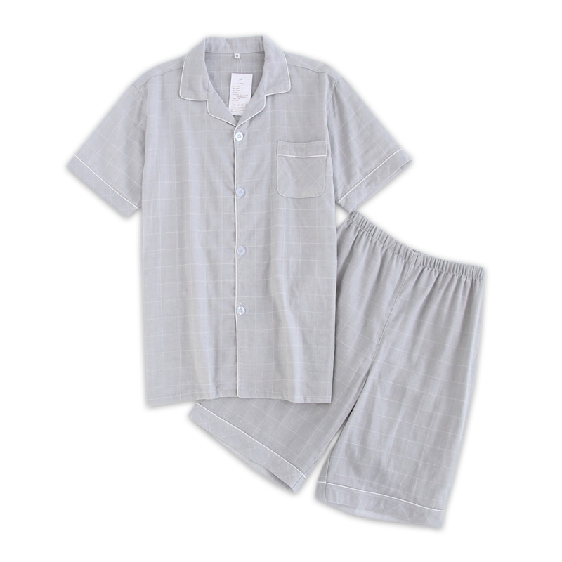 Fashion Couples Plaid Short Pajamas Sets Men Summer Short-sleeve 100% Cotton Casual Mens Pyjama Homme Male Homewear Sleepwear