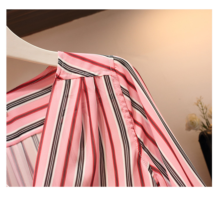 Plus size L-4XL Women Casual Skirt 2 Piece set Striped V-neck Single Breasted Shirt and Patchwork Skirt Suits Work Wear 5