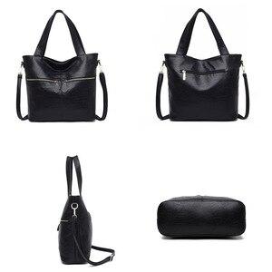 Image 5 - Rodful grande macio casual tote bolsa de ombro bolsas femininas couro feminino grande china senhoras sacos de mão para mulher 2020 preto/cinza