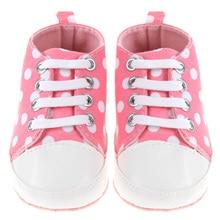 3 Colors Infant toddler Girls Boy Anti-Slip Shoes Soft Bottom Shoes Big Polka Dot T-Tied shoes Prewalkers 0-24m