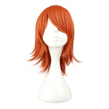 MCOSER Free Shipping Synthetic 35cm Short  Orange Red Color Wig 100% High Temperature Fiber Hair WIG-244A цена 2017