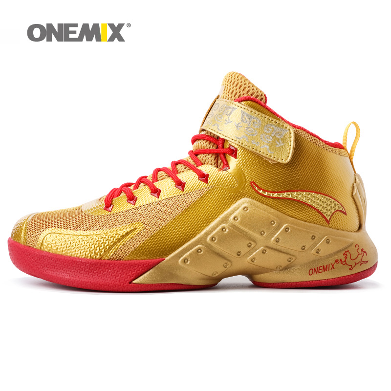 ONEMIX Man Basketball Shoes For Men Nice Classic Athletic Basketball Boots Trainers Gold Sports Shoe Outdoor Walking Sneakers original li ning men professional basketball shoes