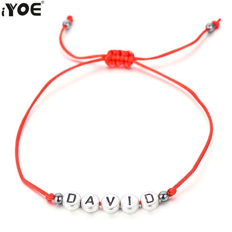 Браслет IYOE с подвеской в виде имени для женщин, мужчин и детей, уникальная цепочка, браслеты на удачу с красной нитью, дружеский подарок для с...