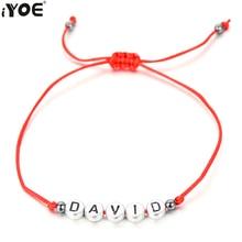 efe1383c602b IYOE carta cuentas nombre encanto de la pulsera de las mujeres hombres niños  única suerte cadena cuerda pulseras amantes de los .
