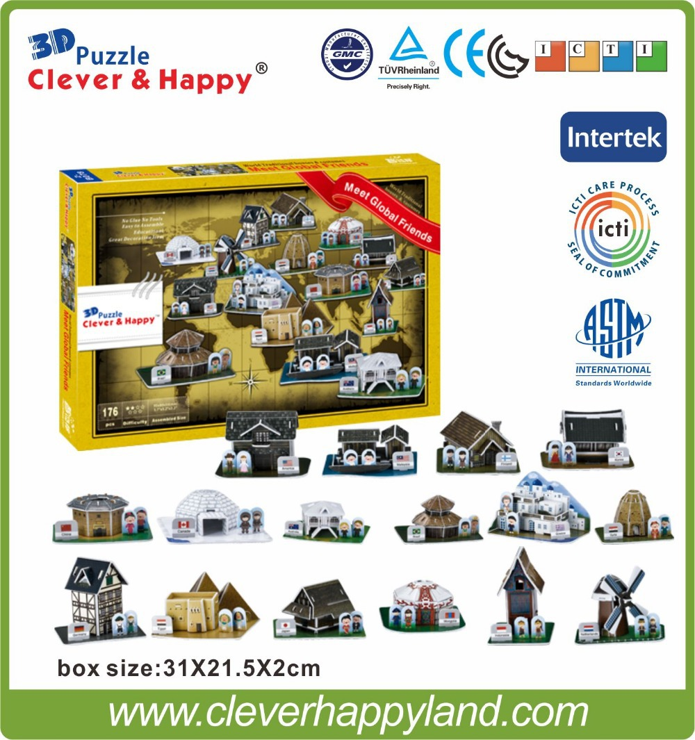 16 in 1 3d mini custom puzzle From the world of house meet global friends