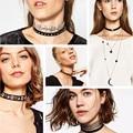 Black Velvet Choker 2016 Rhinestone Necklace Tatto Crystal Statement Collar for Women Fashion Leather Chain Gothic Neck Jewelry