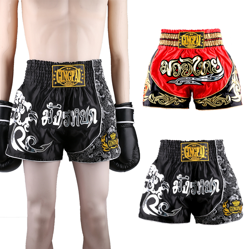 2017new men boxing shorts good quality MMA trunks for kids martial arts muay thai free combat pants GYM fitness quick dry shorts image