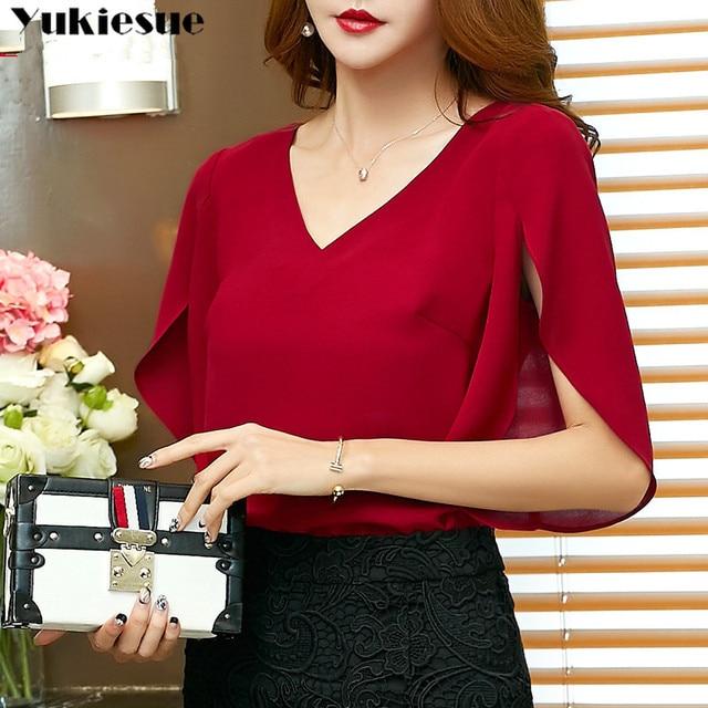 fashion woman blouses 2019 summer women's shirt blouse for women blusas womens tops and blouses chiffon shirts ladie's plus size 1
