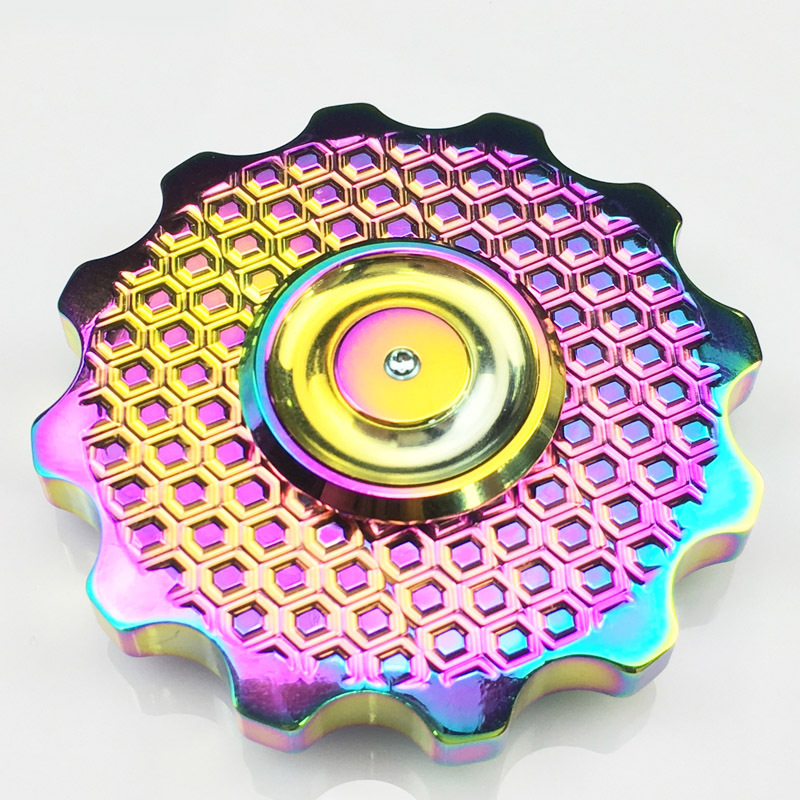 Super Gorgeous Color Tri-Spinner Fidgets Toy Brass EDC Sensory Fidget Spinner Autism Adult Funny Anti Stress Toys 50 pcs lot tri spinner fidgets toy metal edc sensory fidget spinner for autism and adhd funny anti stress toys dhl free shipping