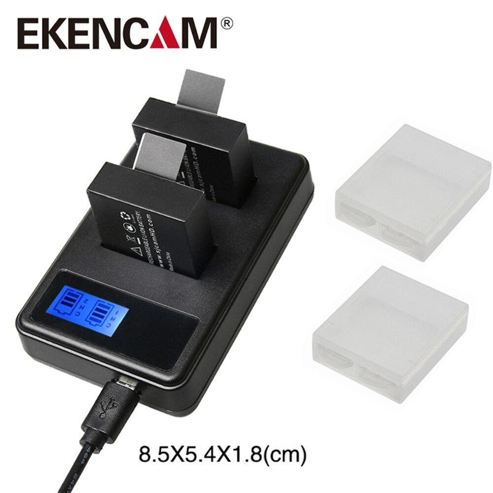 EKENCAM H9 sj4000 LCD Screen Dual Port Battery Charger with Cable for Sj5000 M10 SJ7000 SooCoo c30 C50 EKEN H9r H5s V8s H6s