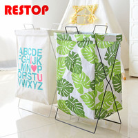 RESTOP Folding Iron Frame Canvas Laundry Basket Washing Laundry Bag Hamper Storage Dirty Clothing Bags Toy Storage Bag RES1050