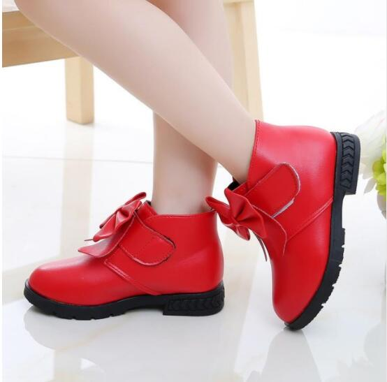 купить New Spring Autumn Kids Baby Girls Sneakers Shoes Fashion Toddler Girls Boots Bow PU Leather Boots Kids Boots Flat по цене 337.27 рублей