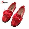 Niños shoes girls 2017 nueva primavera de la moda los niños grandes del arco de cuero shoes color sólido kids shoes plantilla 16-18 cm 9603 w