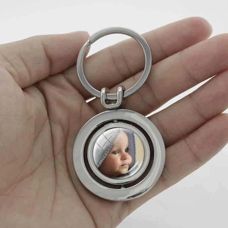 JOINBEAUTY personalizado foto personalizada colgante llavero personalizado diseñado personalizado foto con doble cara rotativa joyería NA01