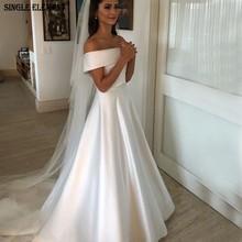 SINGLE ELEMENT Elegant Vintage With Buttons Back Off Shoulder Satin Wedding Gowns
