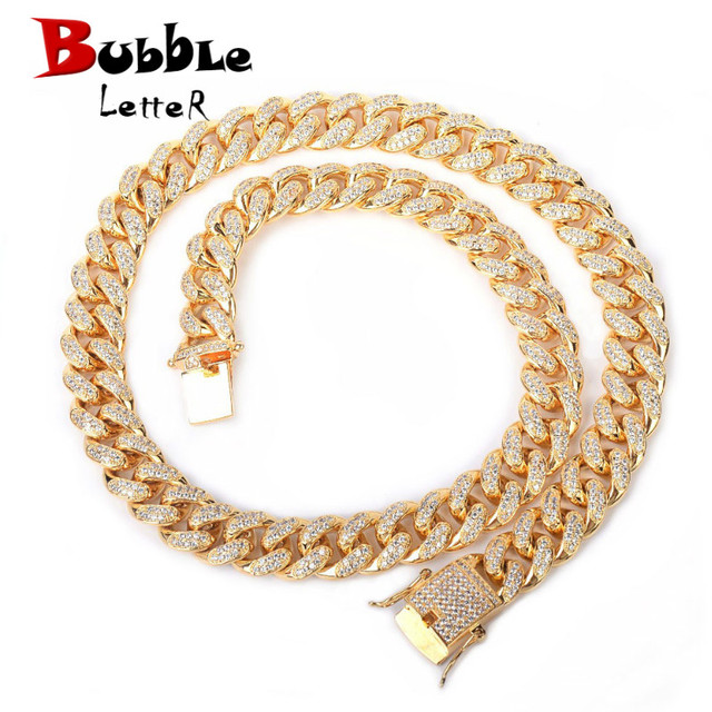 $ US $52.50 12mm Iced Zircon Cuban Necklace Chain Hip hop Jewelry Gold Color Copper Material CZ Clasp Mens Necklace Link 18-28inch